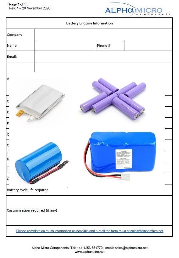 Alpha Micro Components battery enquiry form